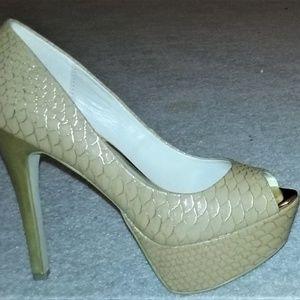Just Fab Snake Print Gold Nude Peep Toe Heels 8M